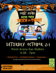 Drive Thru Trick or Treat Point Arena 2020